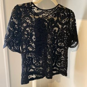 Nanette Lepore stretch lace black top S